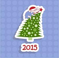 2015圣诞树圆点背景圣诞卡片