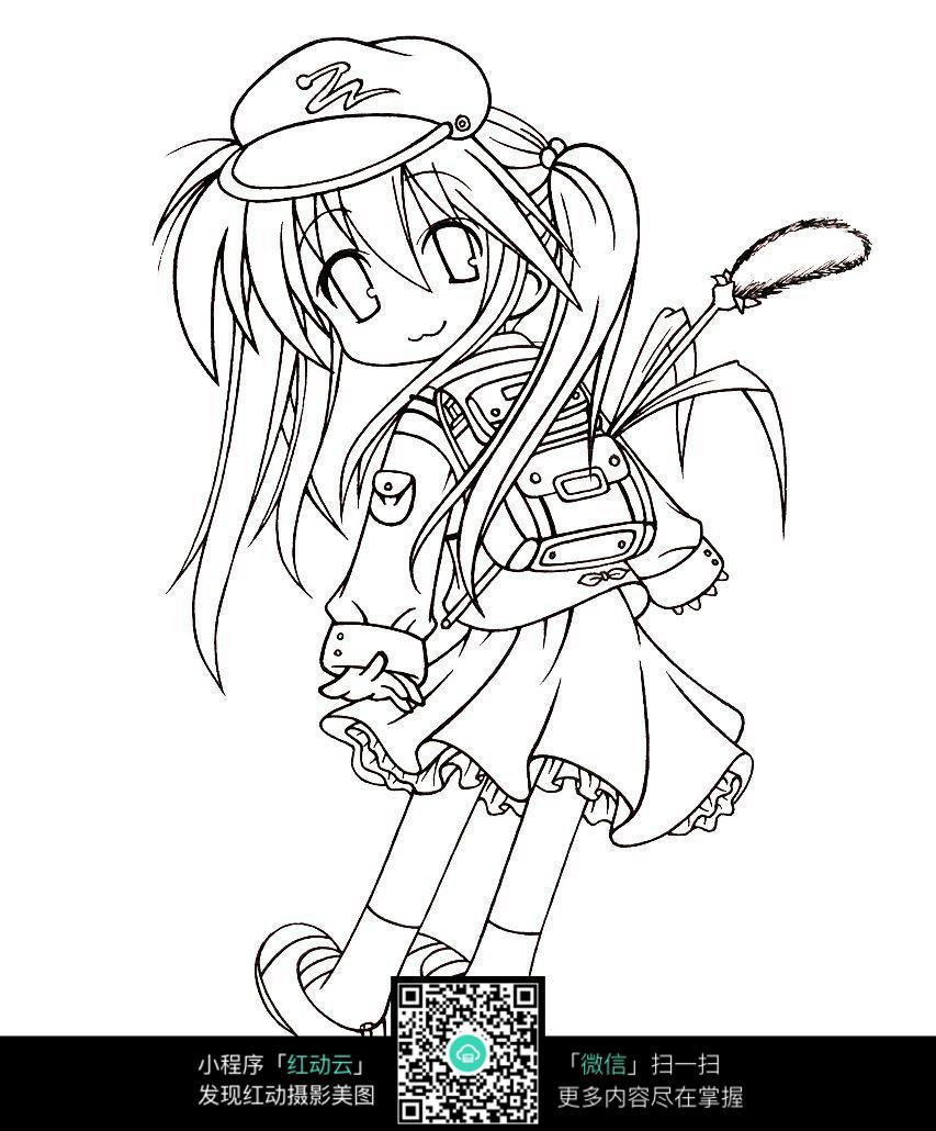 背书包的女孩卡通手绘线稿图片