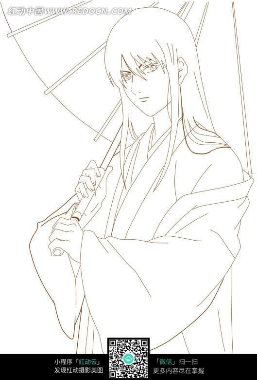 撑伞的美女卡通手绘线稿图片