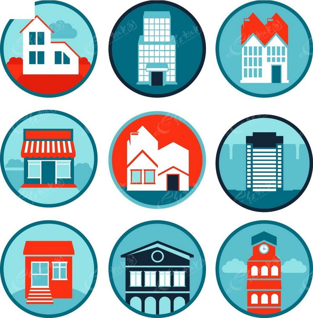 城市建筑便利店手绘图形图标
