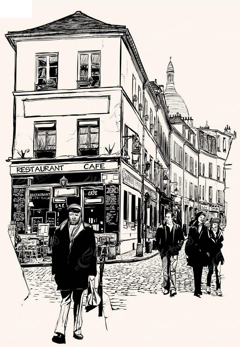 城市街景人物手绘线描画EPS素材免费下载 编号3740298 红动网图片