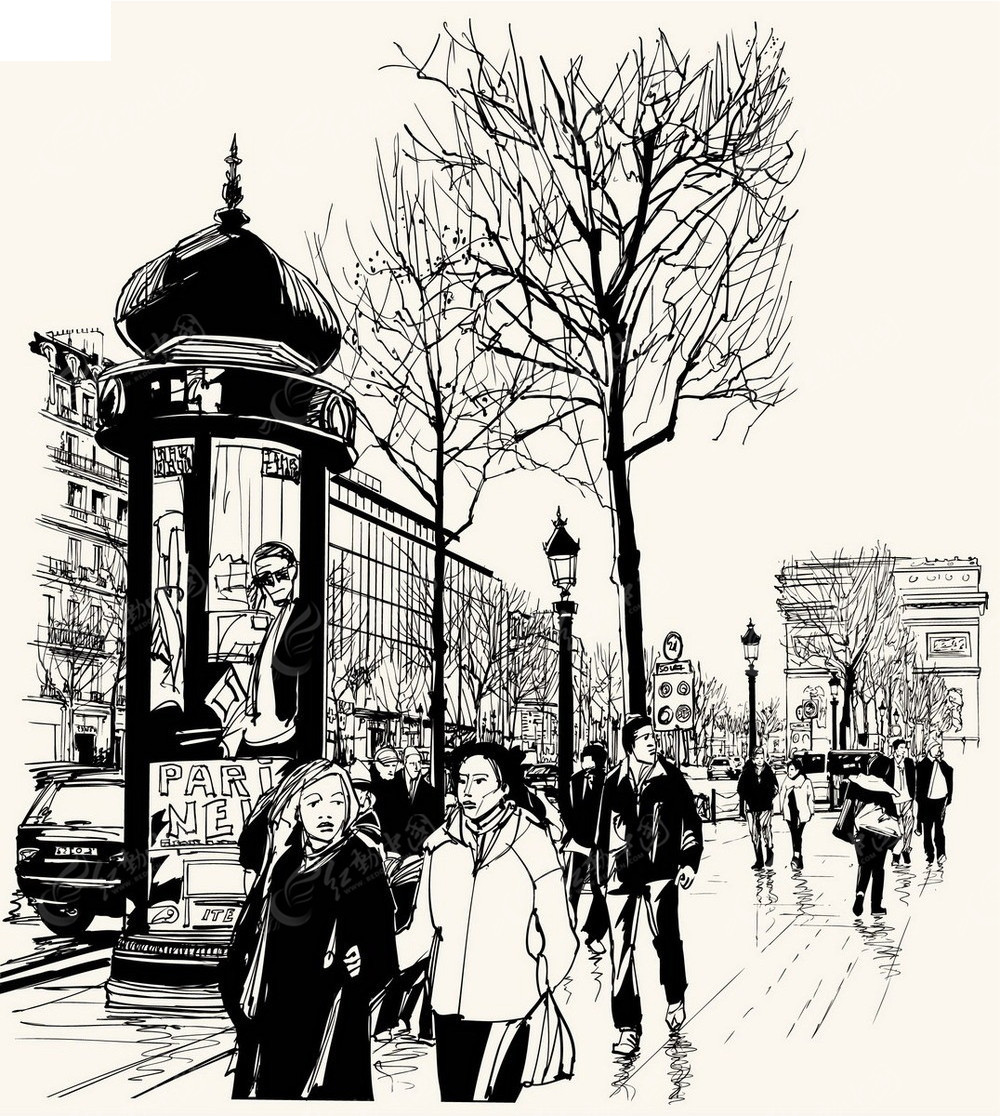 城市街景手绘线描画EPS素材免费下载 编号3740292 红动网图片