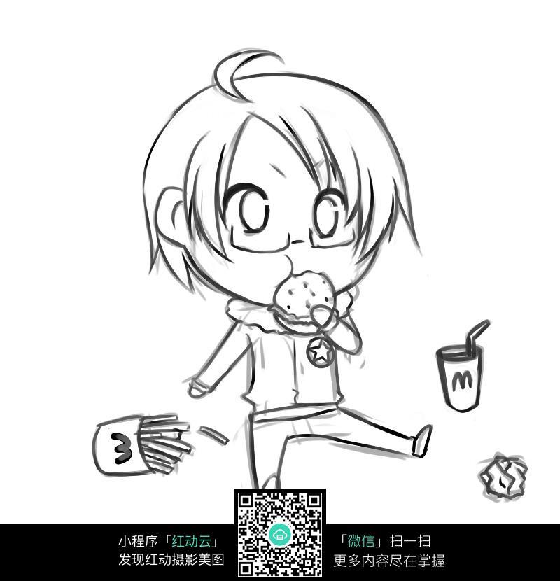 吃饼干的小孩子卡通手绘线稿