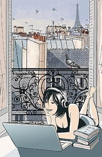 窗外城市景色学习听歌的美女手绘图