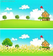 春天乡间美景手绘背景画图片
