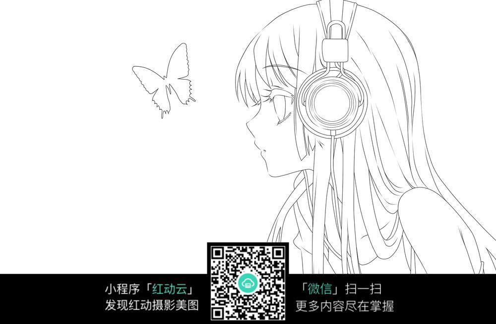 免费素材图片插画漫画人物女孩漫画戴着身体的比例线稿素材耳机人物卡通图片