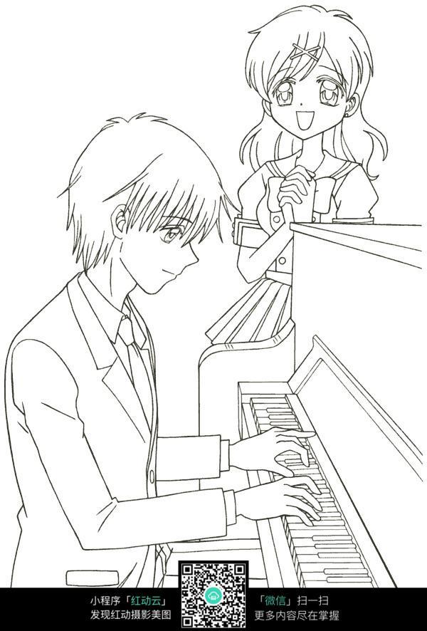 弹钢琴的少年卡通手绘线稿