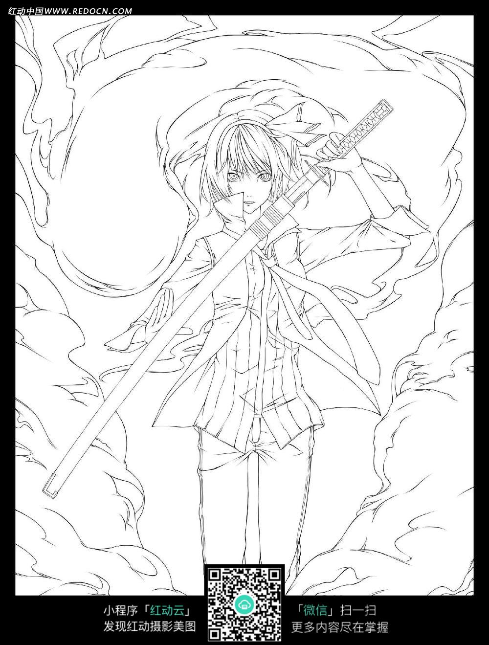 刀和女孩卡通手绘线稿