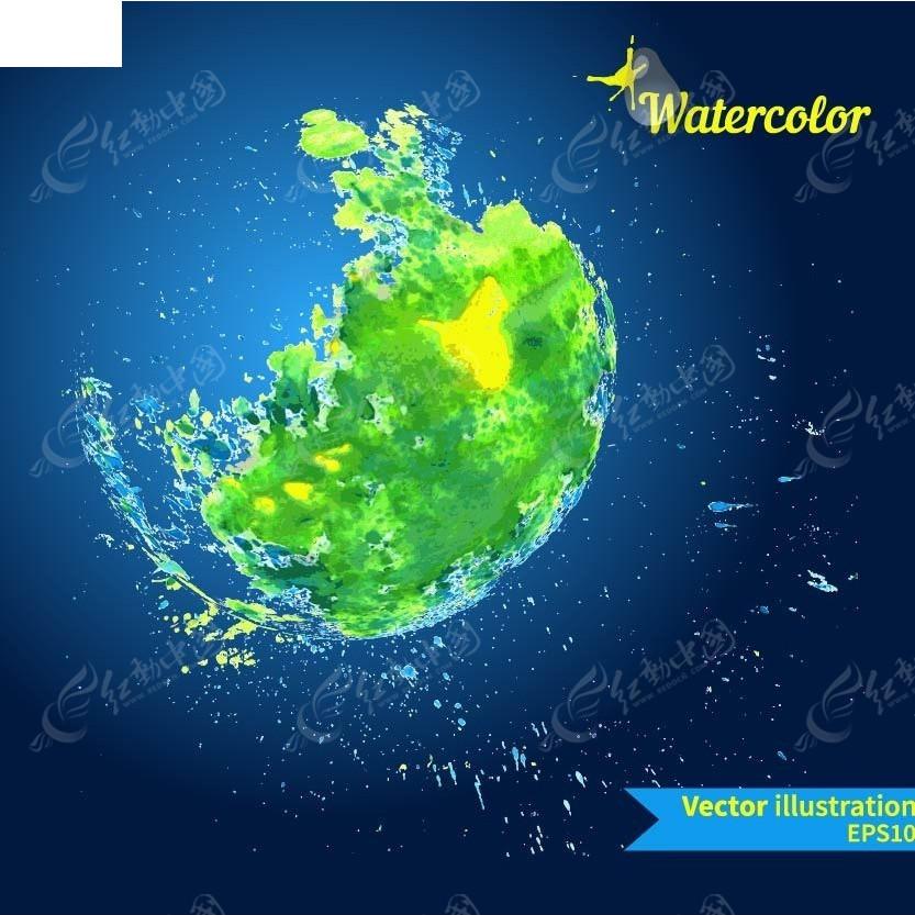 地球全球水域手绘背景画eps素材免费下载_红动网