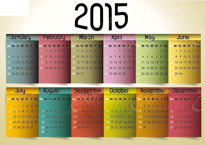多彩标签背景2015年日历图片