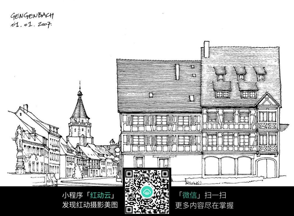 房子卡通手绘线稿