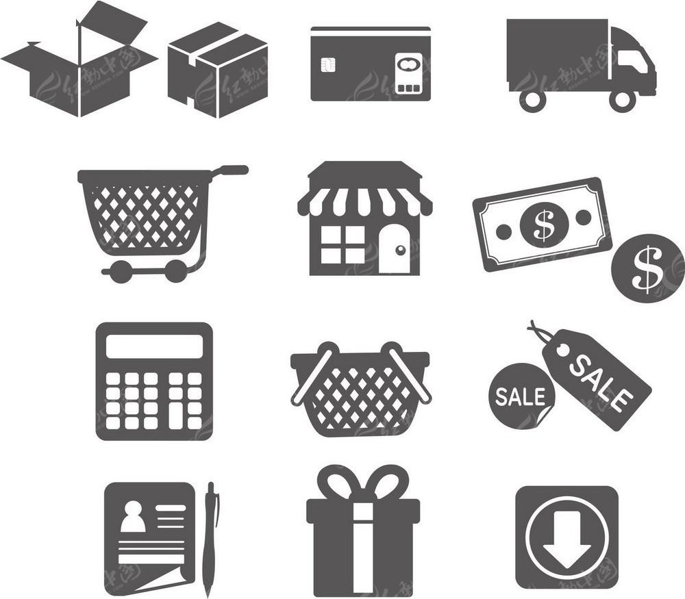 购物便利店手绘图形图标