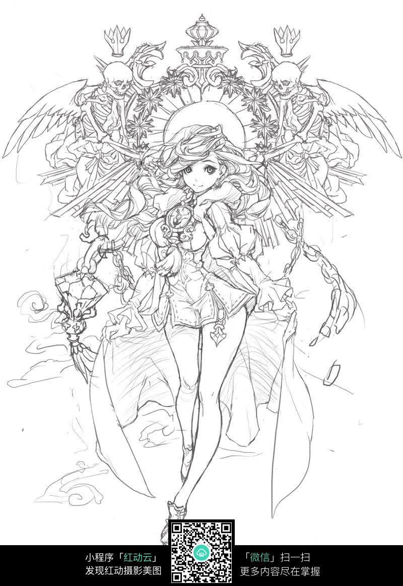 蝙蝠和少女卡通手绘线稿
