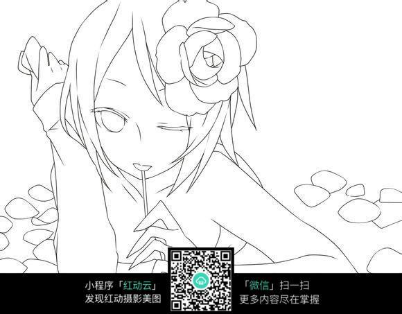 喝饮料卡通小女孩简笔画