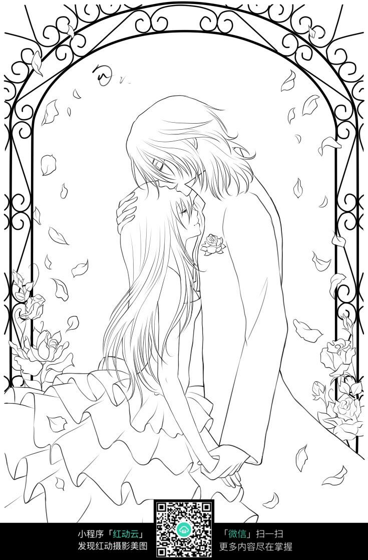 花瓣和情侣卡通手绘线稿