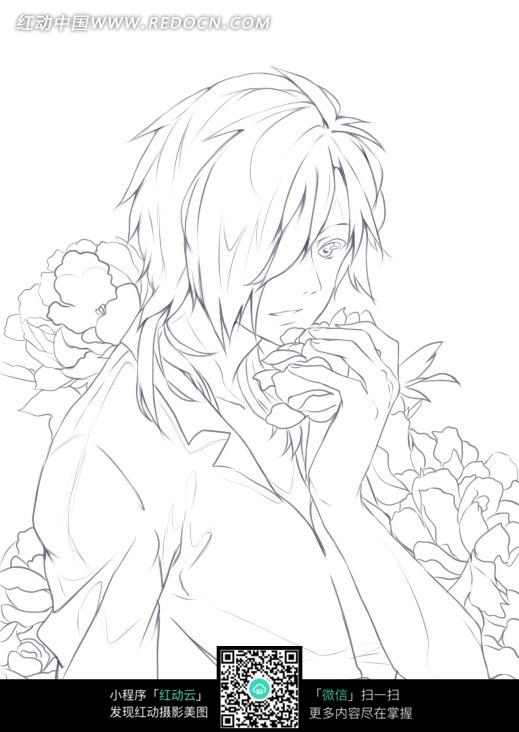 花朵和男孩卡通手绘线稿图片_人物卡通图片