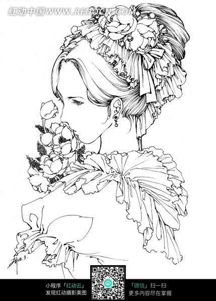 免费素材图片漫画女孩角色卡通素材卡通和插画花朵手绘线稿请您人物漫画老夫子图片