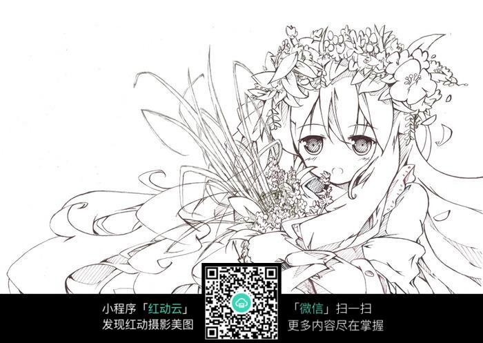 花朵和女孩卡通手绘线稿图片