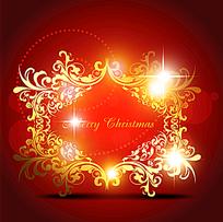 花纹星光背景圣诞卡片