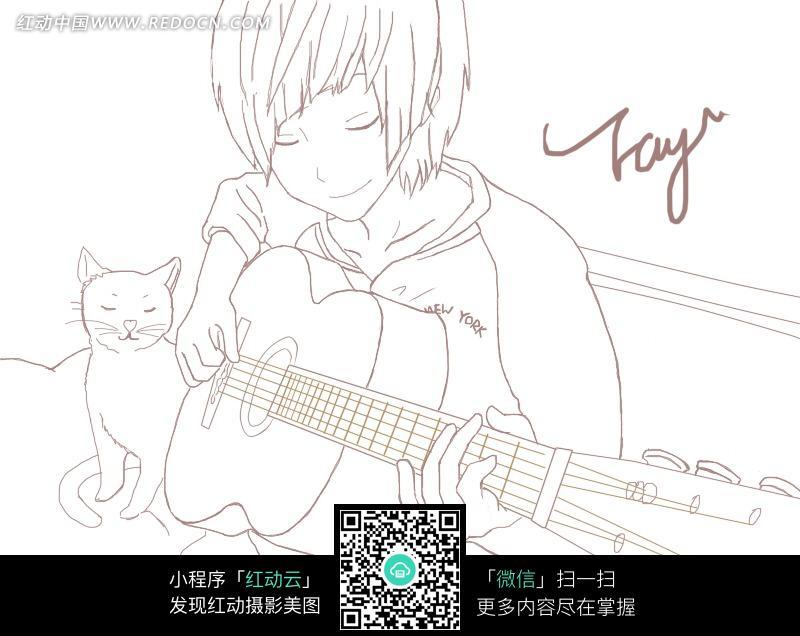 吉他男孩卡通手绘线稿图片