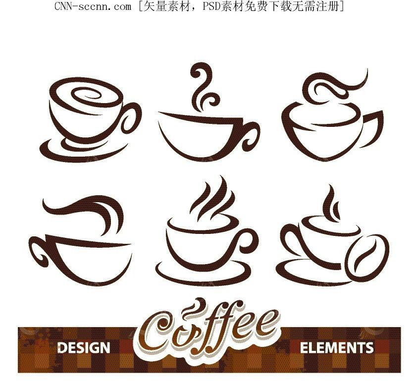 咖啡手绘线描图形