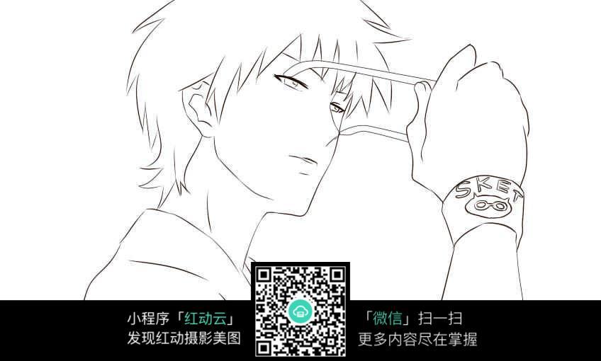 卡通戴眼镜的男孩