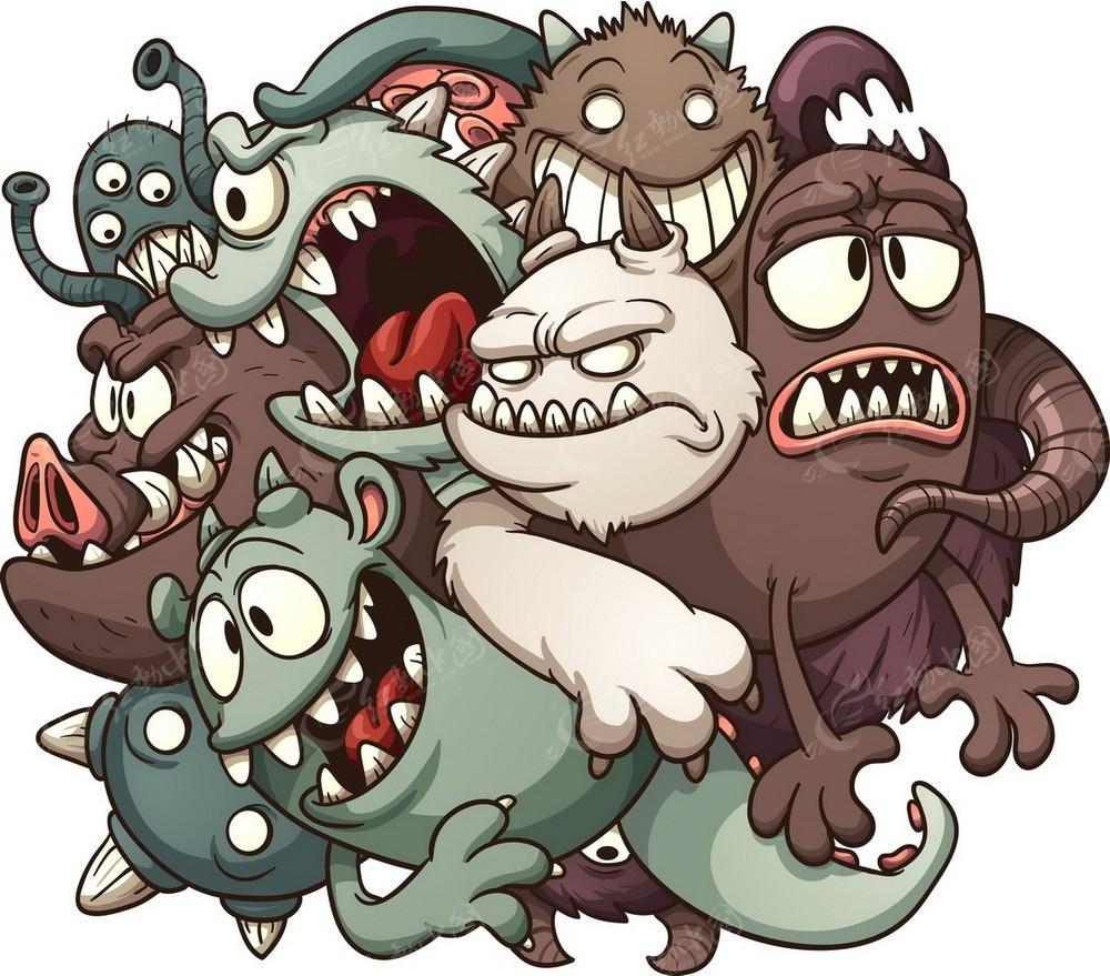 卡通怪兽手绘线描画