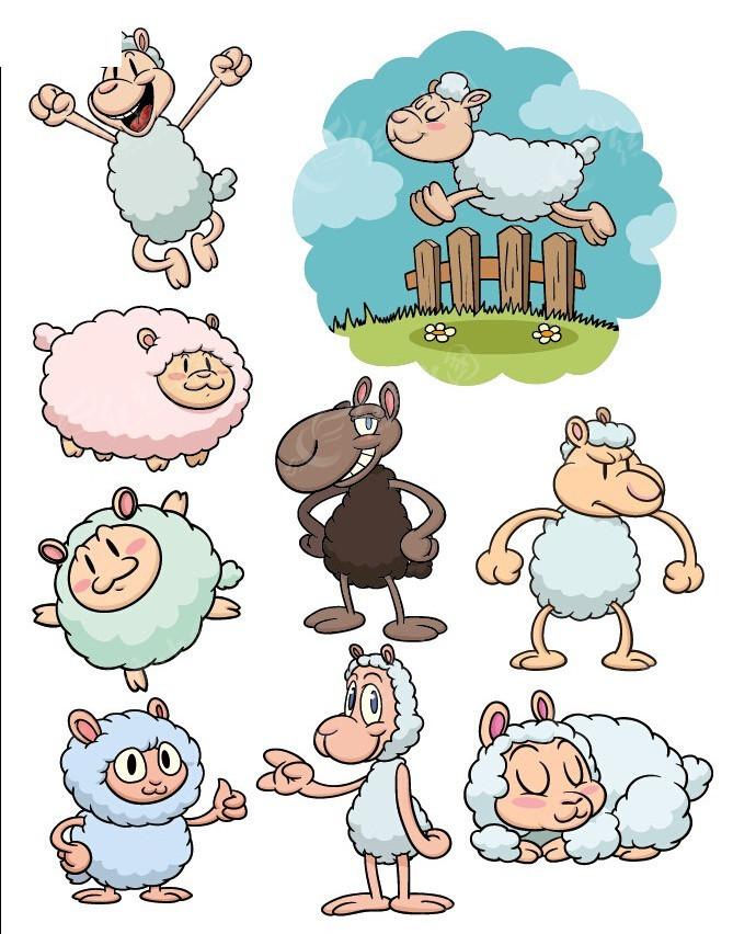卡通绵羊手绘线描画