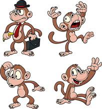 卡通小猴子囹�a_卡通小猴子矢量素材