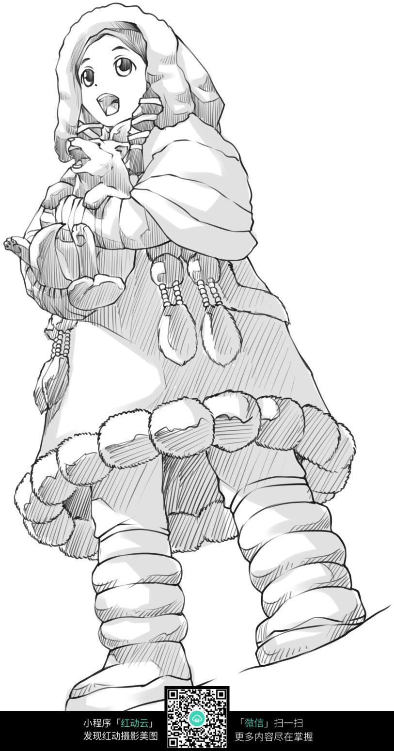 卡通下雪冬天里的小女孩