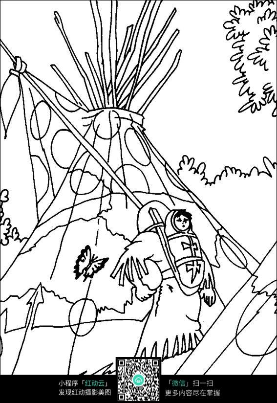 卡通原始部落人物线稿