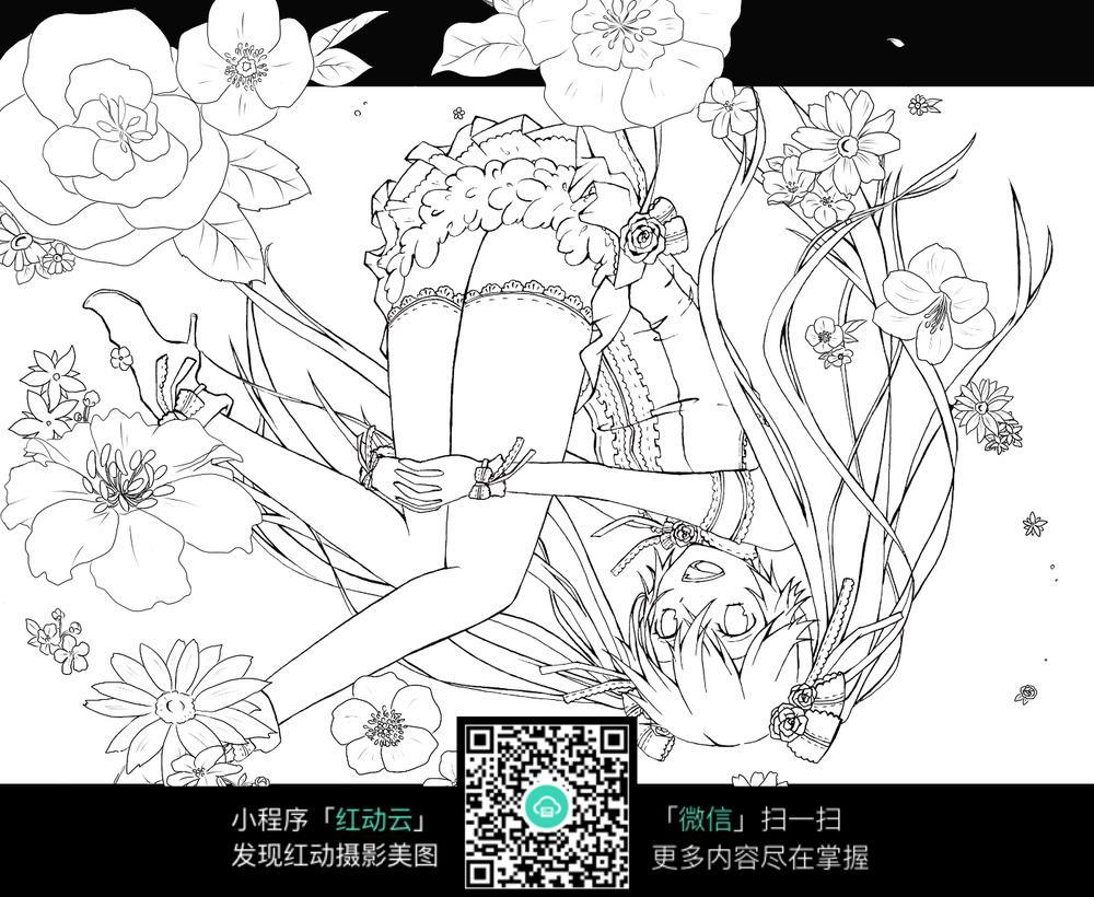 卡通坐在花海里的小女孩