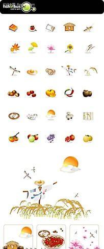 美食水果手绘图形图标