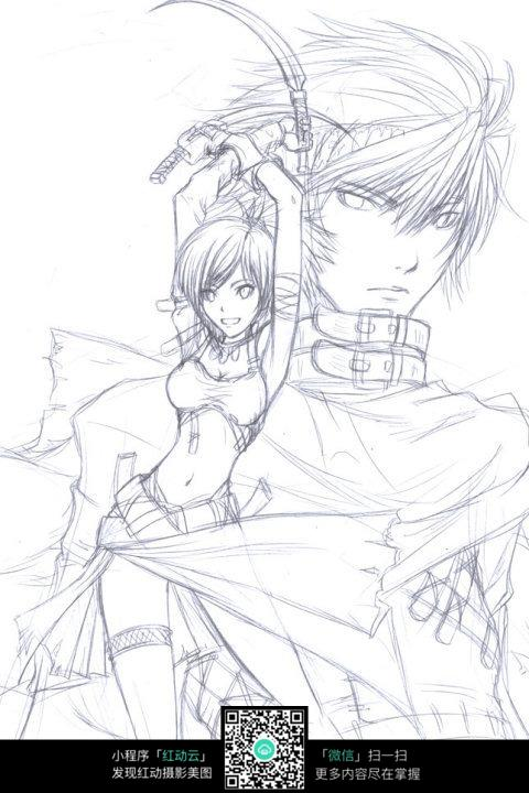 男孩和女孩卡通手绘线稿_人物卡通图片_红动手机版