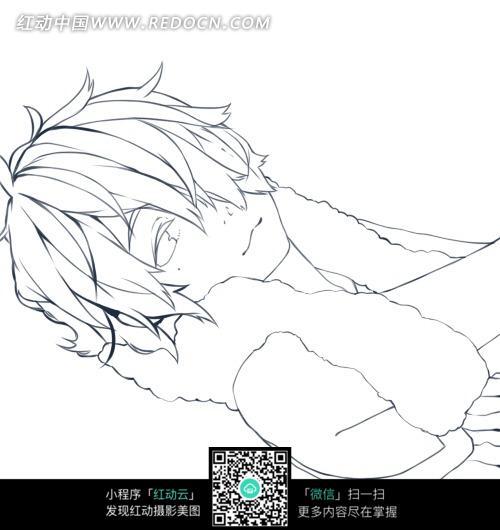 男孩 卡通 手绘线稿 卡通人物 漫画  卡通素材  插画 人物素材 漫画人
