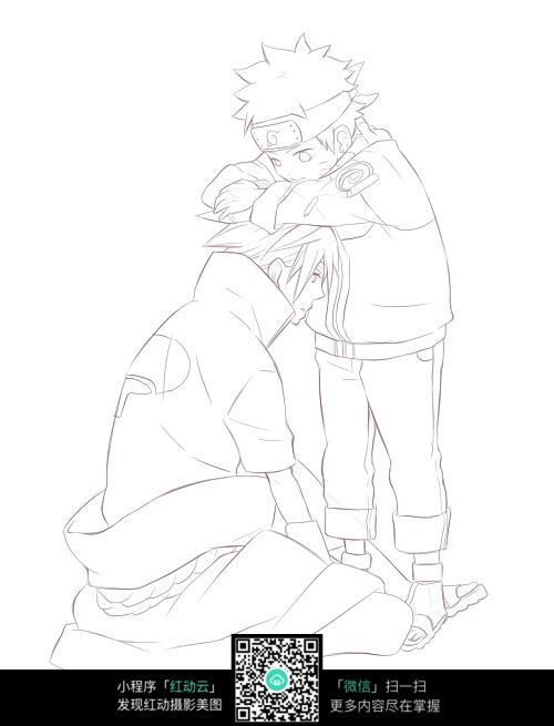 男子和小孩卡通手绘线稿