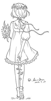 女孩背影卡通手绘线稿图片