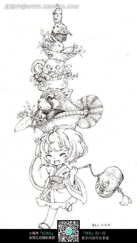 女孩和小动物卡通手绘线稿
