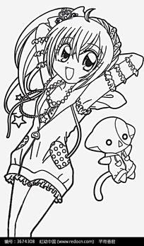 女孩和小狗卡通手绘线稿