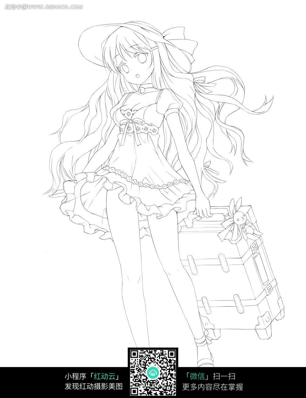女孩和行李箱卡通手绘线稿