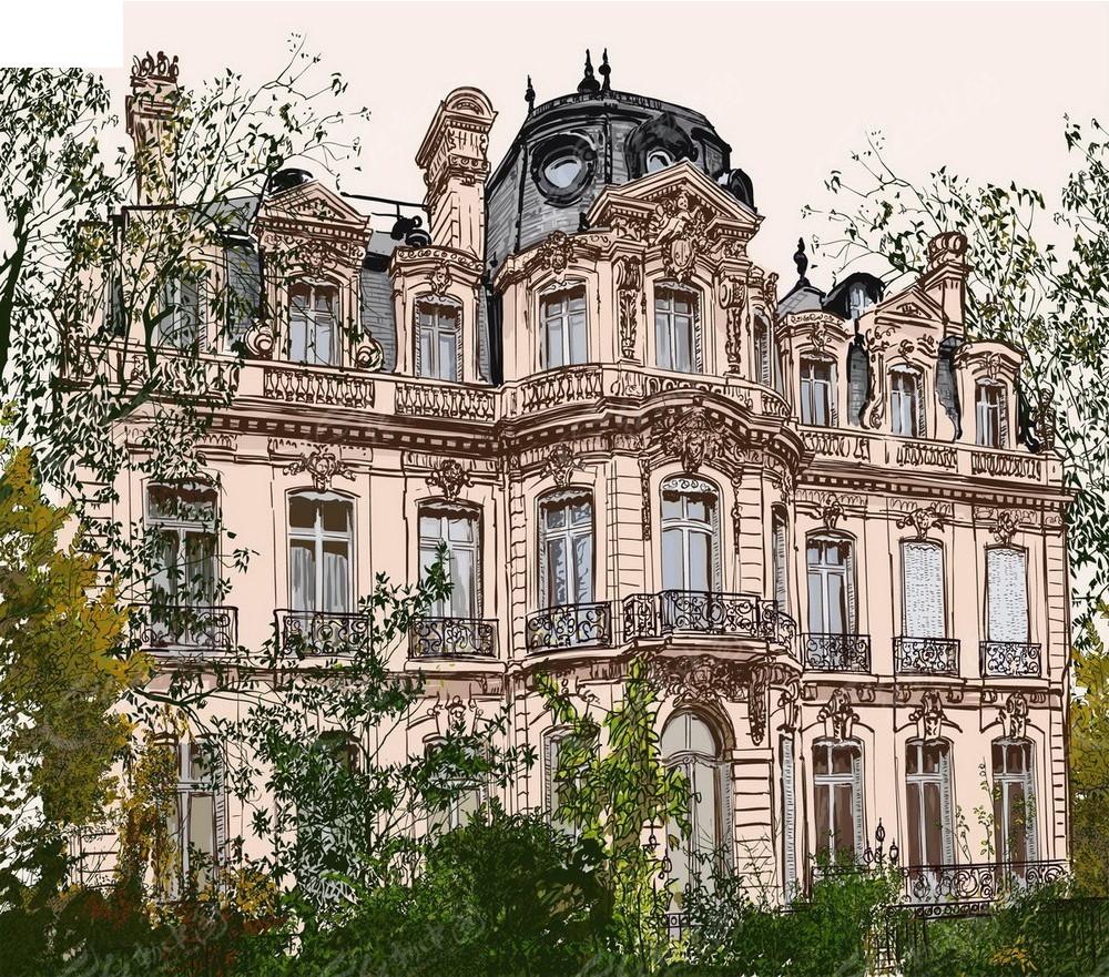 欧式建筑景观手绘背景画