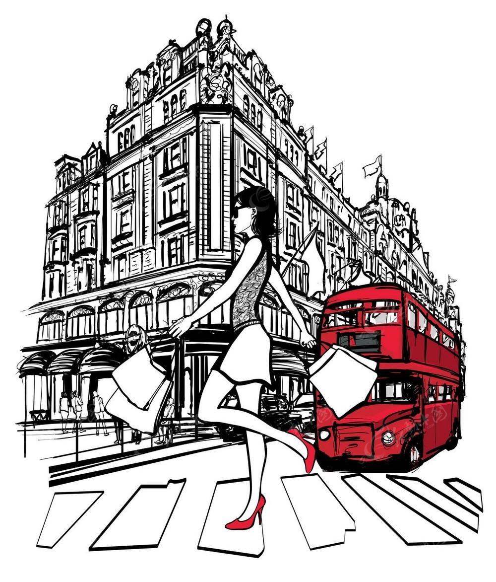 欧式建筑美女旅行车手绘线描背景图