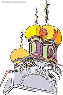 欧式建筑手绘线描背景画