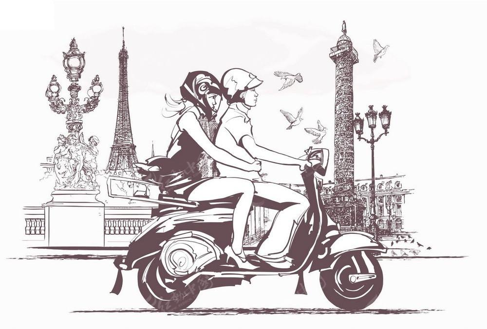 骑摩托车的情侣手绘线描画