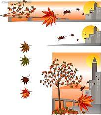秋季枫叶小区湖面背景画