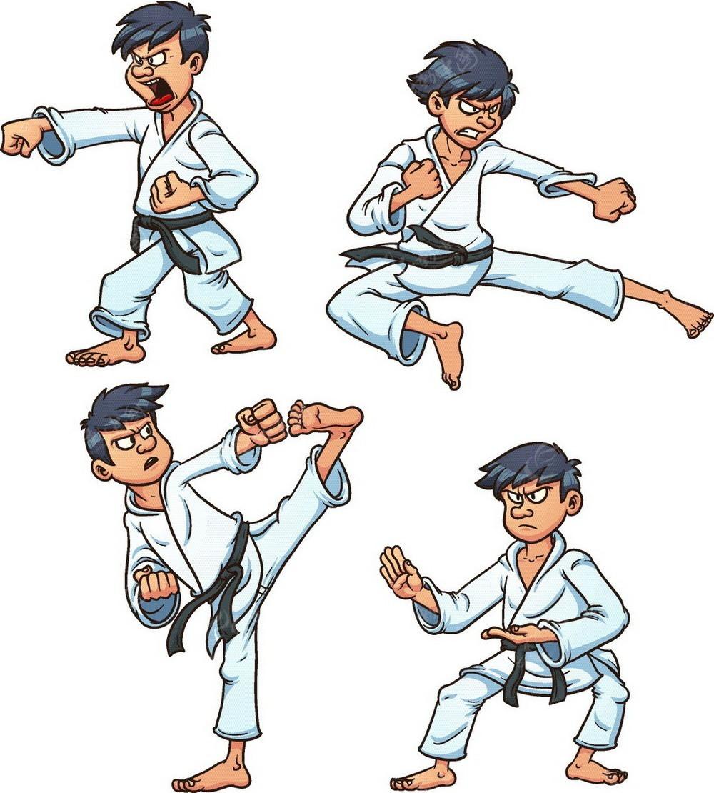 跆拳道武士手绘线描画