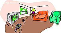 室内客厅手绘背景画
