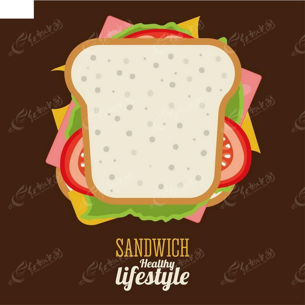 蔬菜面包片手绘图形图标
