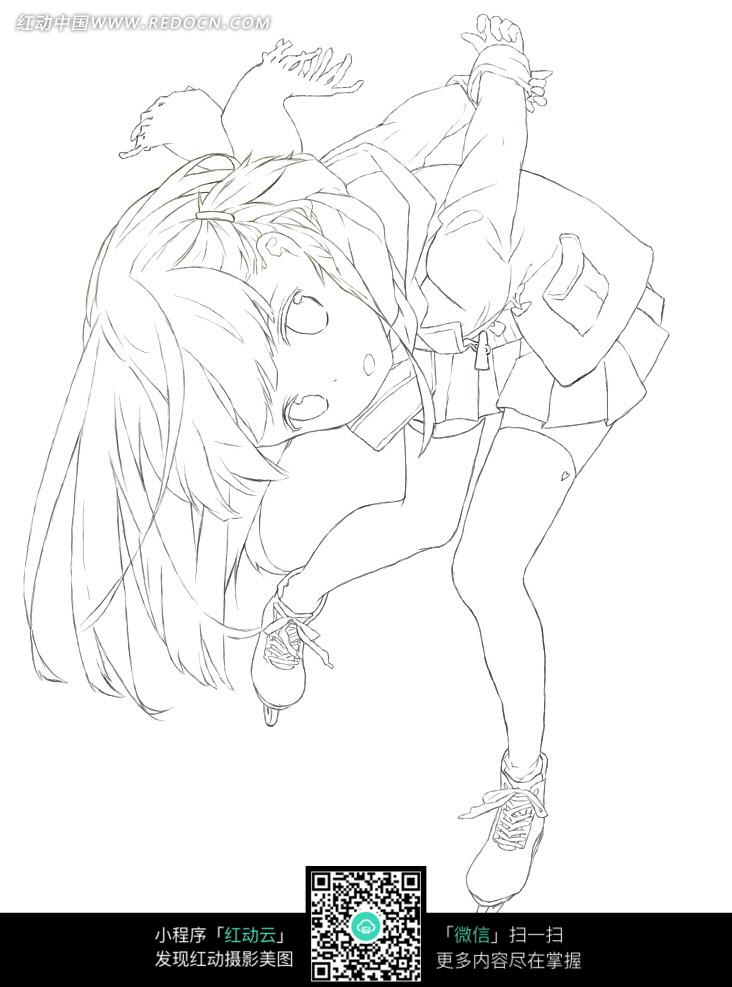 弯腰的校园图片手绘线稿女孩卡通初中规范图片