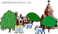 乡村搬运工人手绘背景画